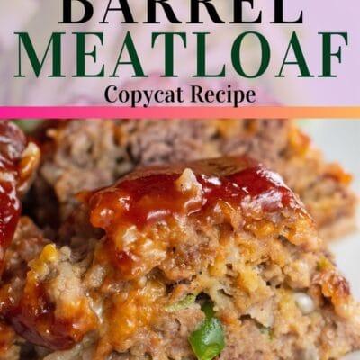 Cracker barrel meatloaf pin with text header.