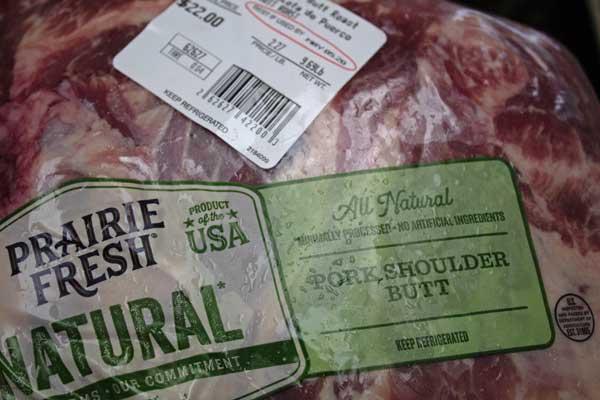 Packaged pork shoulder butt for roasting.