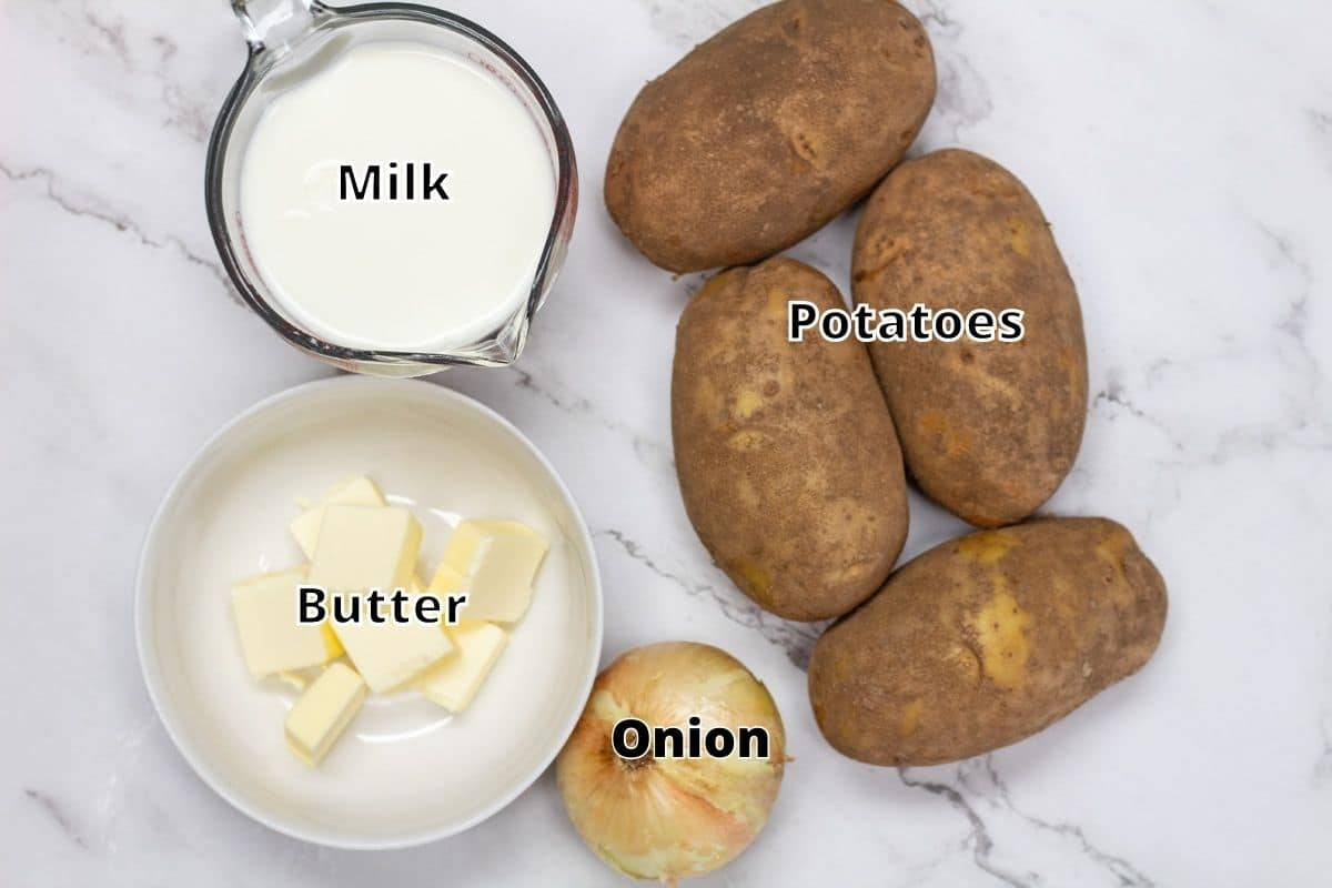 4 ingredient potato soup ingredients with labels.