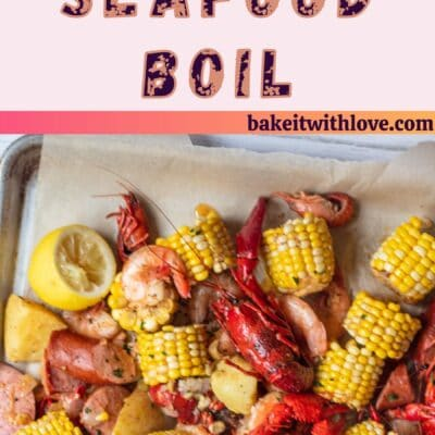 Cajun seafood boil pin with 2 images and text divider.