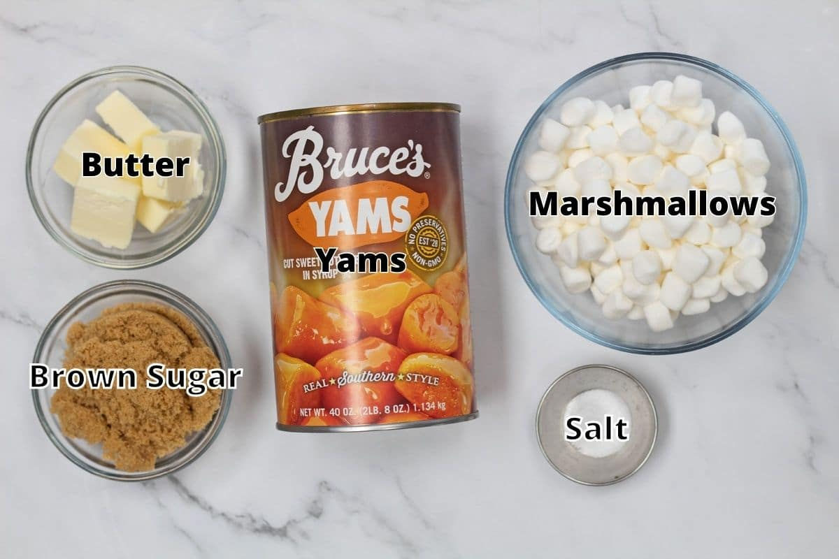 Candied yams with marshmallows ingredients with labels.