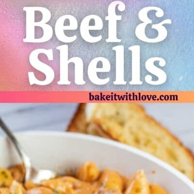 Creamy beef and shells pin with 2 images and text divider.