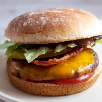 Frozen hamburger cooked in the oven and assembled on bun.