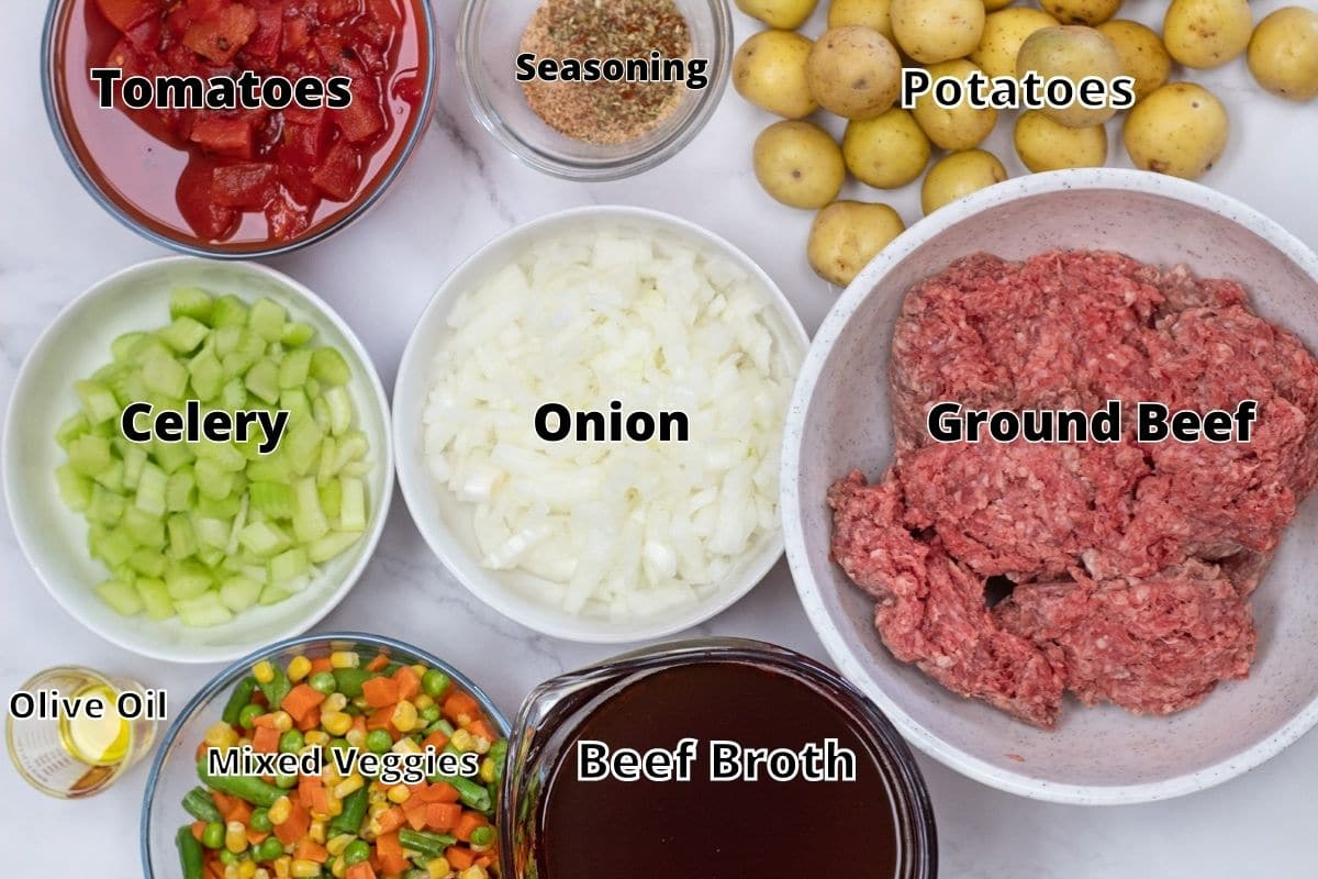 Hamburger soup ingredients with labels.