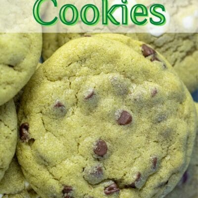 Matcha cookies pin with text header.