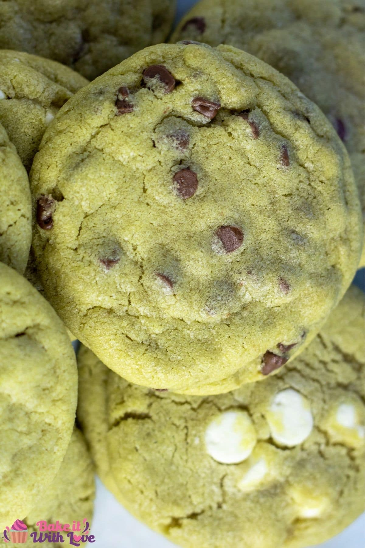 Tall overhead image of the matcha cookies with different white and chocolate chips.