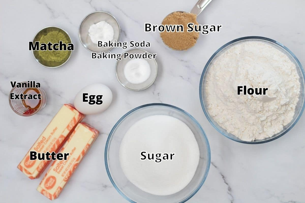 Matcha cookies ingredients with labels.