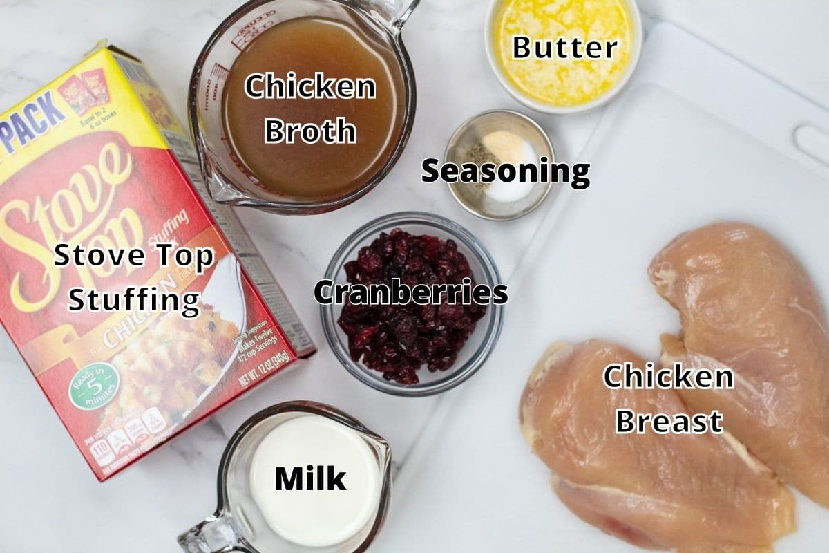 Stuffing stuffed chicken breast ingredients with labels.
