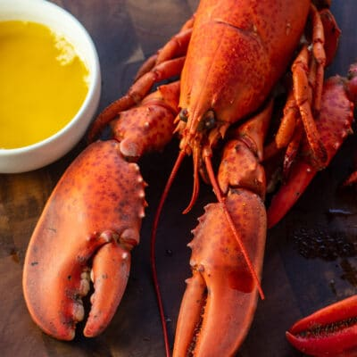 Fresh boiled lobster on wooden cutting board with drawn butter and lemon.