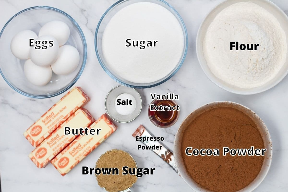 Brownie blondies ingredients with labels for the brownie layer.