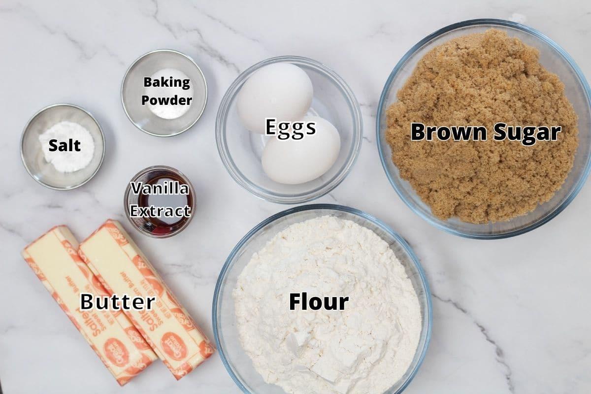 Brownie blondies ingredients for the blondies layer with labels.