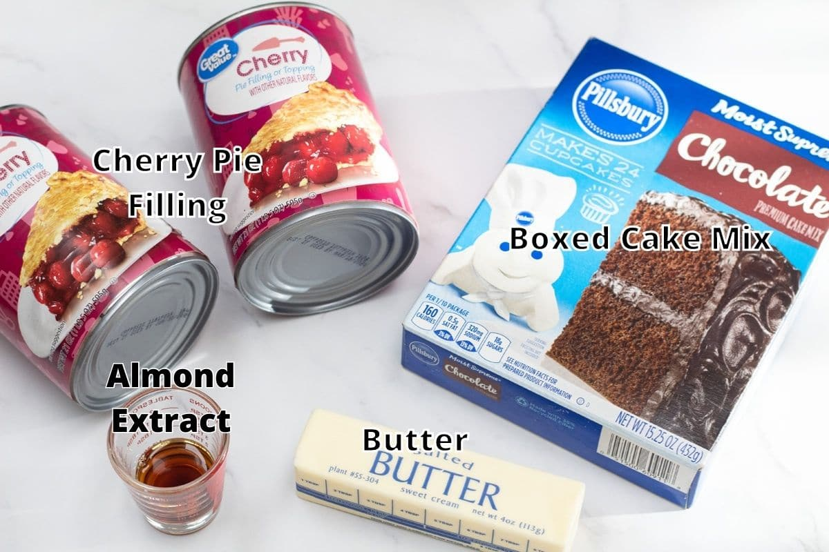 Chocolate cherry dump cake ingredients with labels.