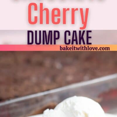 Chocolate cherry dump cake pin with 2 images and text divider.