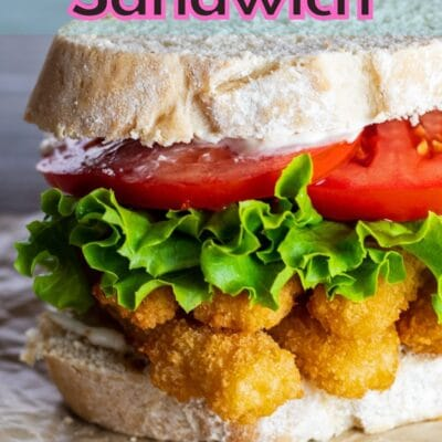 Fish stick sandwich pin with text header.